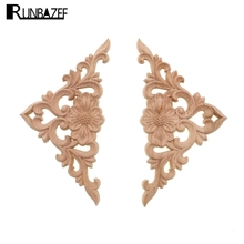 RUNBAZEF Ocean of Flowers Wood Carved Onlay Applique Frame Doors Wall Decorate Furniture Decorative Figurines Wooden Miniatures