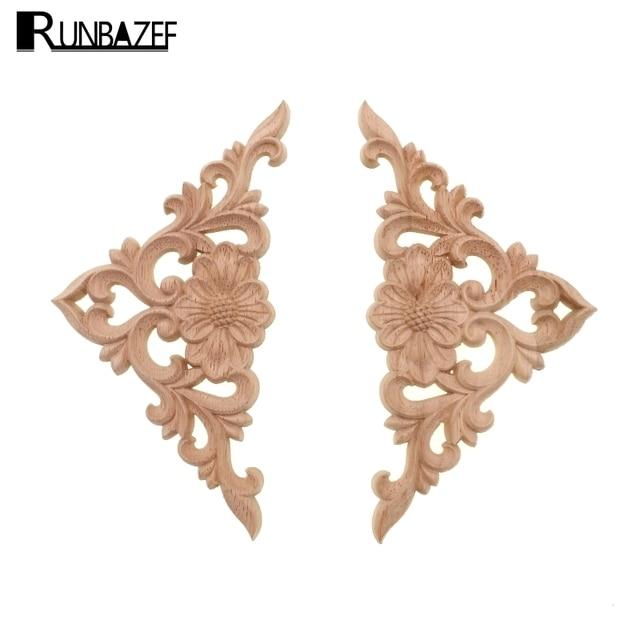 Runbazef océano de flores tallado en madera onlay applique Marcos ...