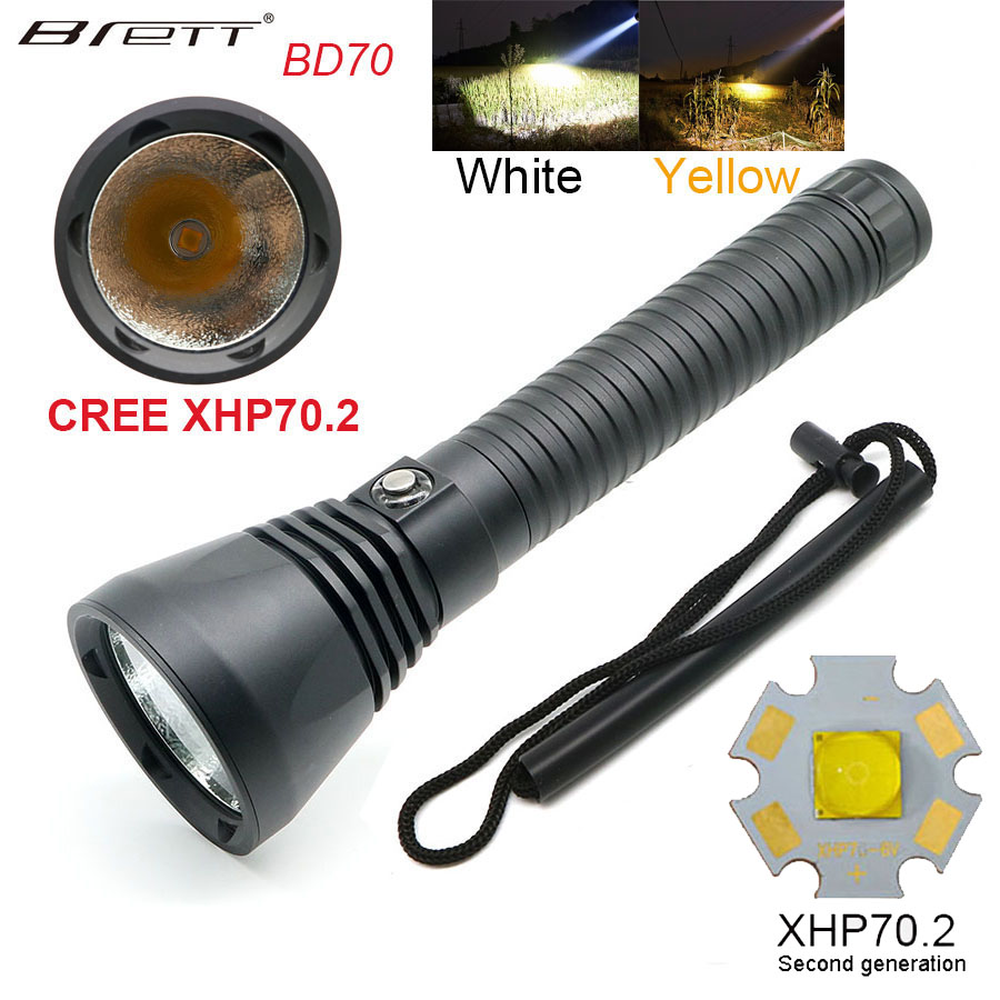 LED Diving Flashlight CREE XHP70.2 Highlight 4000LM Long Shot Stepless Dimmable LED Tactical Flashlight Torch 100M Waterproof powerful handlight outdoor tactical flashlight 1300lm tactical led flashlight torch outdoor waterproof aluminum alloy