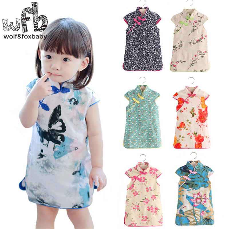 Retail 3-10years Baby Girl Cotton Flax Classical Cheongsam Pastoral Style Ethnic Costume Sweet Lovely Individuality Elegant
