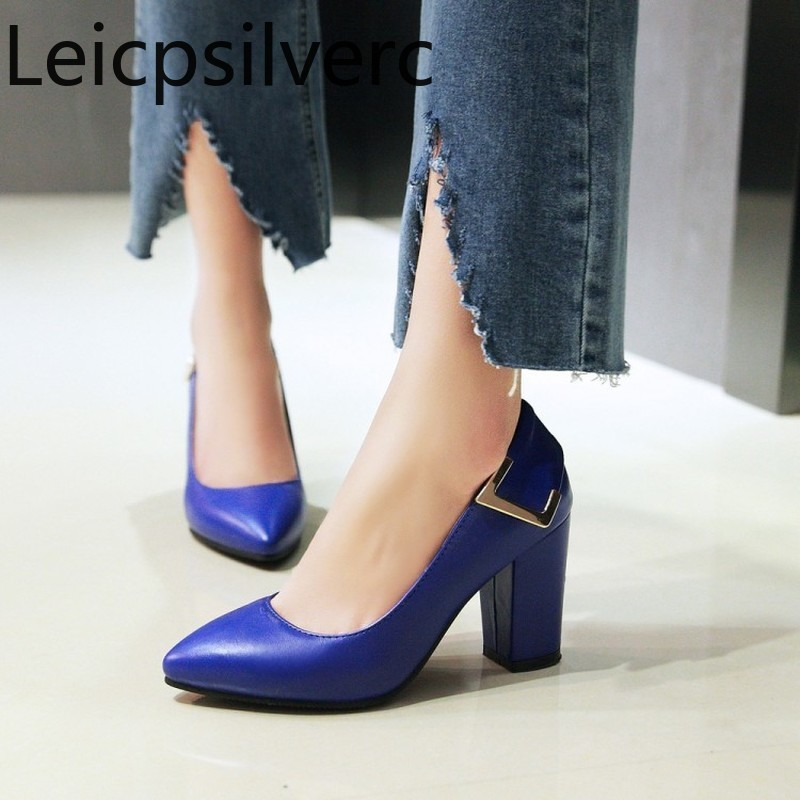Pumps Spring and autumn new style Pointed Shallow mouth Thick heel High heel Womens single shoe plus size 34-43Pumps Spring and autumn new style Pointed Shallow mouth Thick heel High heel Womens single shoe plus size 34-43