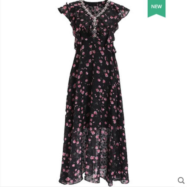 Print chiffon dress 2019 new summer French vintage dress above the knee very fairy dress