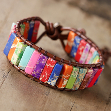 Chakra Bracelet Jewelry Handmade Multicolor Natural Stone Tube Beads Leather Wrap Couples Bracelets