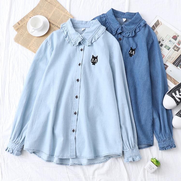 Women's Clothing Kyqiao Ethnic Shirt 2019 Mori Girls Japanese Style Fresh Long Sleeve Turn-down Collar Blue White Embroidery Blouse Shirt Blusa