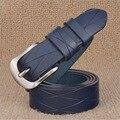 2017 Pin Hebilla de Correa De cuero Genuina Marca de Moda Cinturones Cowskin Cinturón Negro Rojo Azul Garantía de Calidad ZLB068