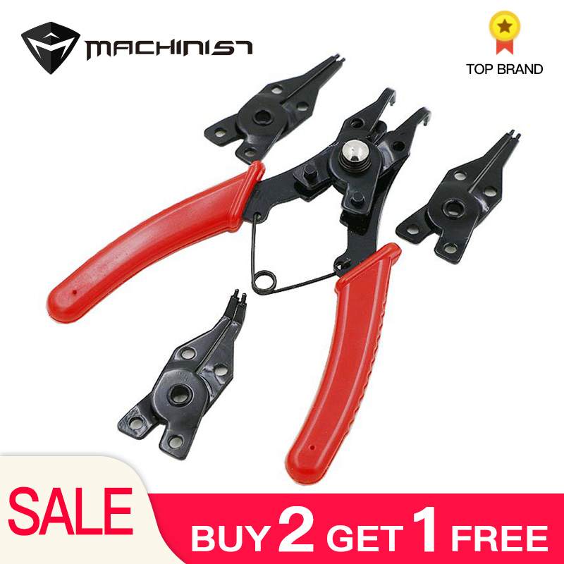 Pliers Circlips Universal Spring Pliers Circlip Tool With 4pcs Angled Tong Head Clamp Repair Hand Tools Clamps Rubber Handle