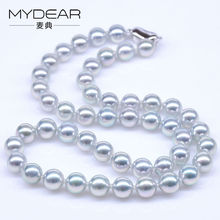 MYDEAR Fine Pearl Jewelry Charm 8-8.5mm Natural Akoya Pearls Chokers Necklaces Real High Quality Pearls Beads Strand Necklaces