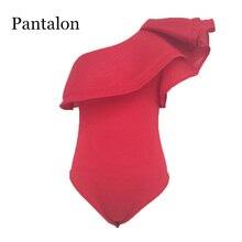 Pantalon Női dzsekik Ruffle Body Női Fekete Vörös Trikók Egy Off-Shoulder Combinaison Pantalon Femme Elegante Roupas