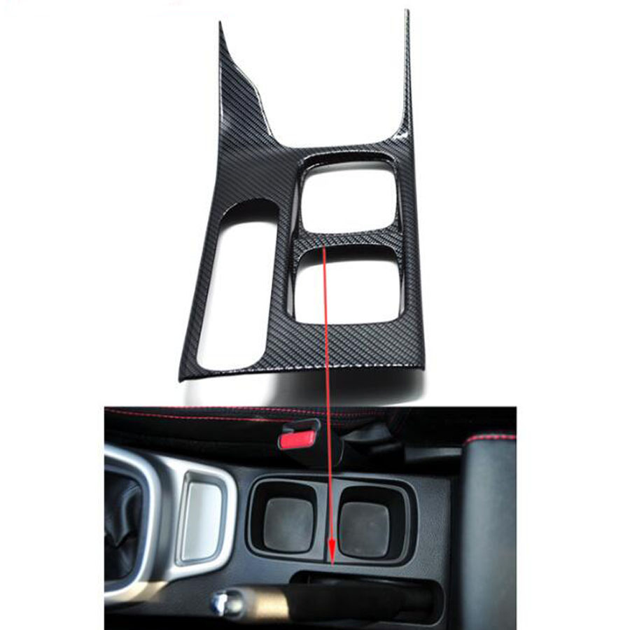 YAQUICKA Carbon Fiber Or Wood Grain Water Cup Holder Panel Cover Gear Shift Trim Frame Sticker