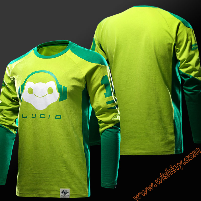 Cool OW Lucio Green T-shirt Reaper Genji tshirt Long sleeve OW Hero Soldier 76 Baseball Tee shirt Men 3XL