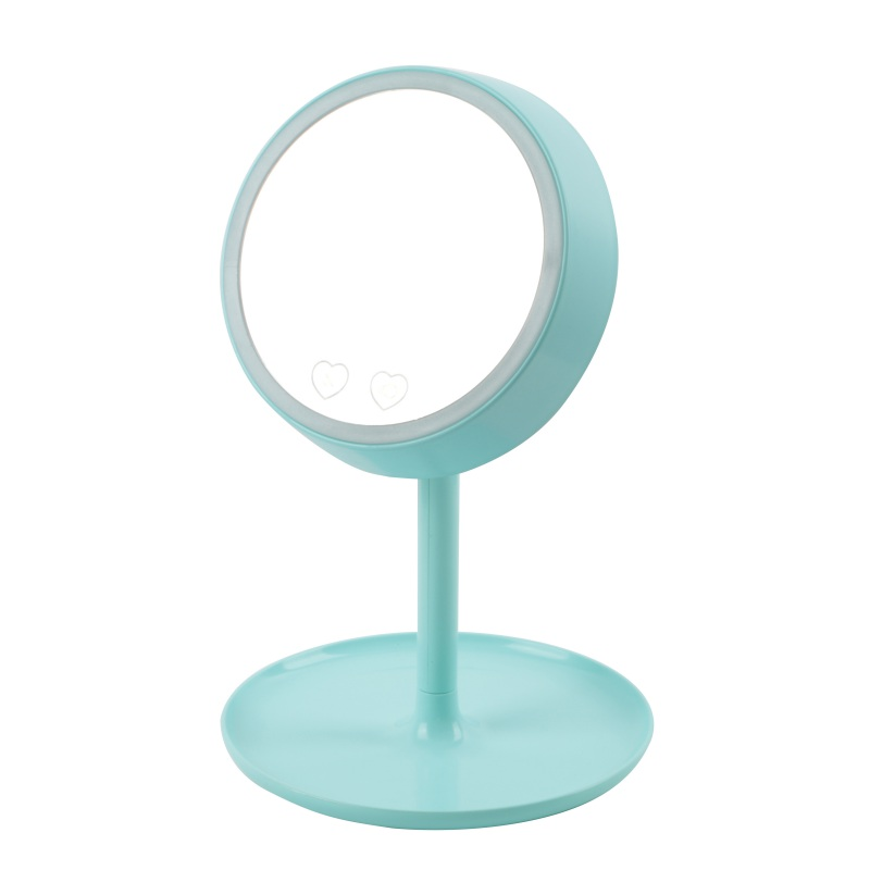 ФОТО 180 Degree 2-in-1 LED Colorful Light Desktop Rotation Adjustable Rechargable Stand Mirror Lamp Make Up Tool