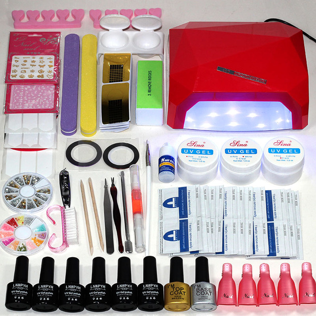 Nail Set For Manicure Extension Uv Gel Kit 6 Colors Polish Base Top