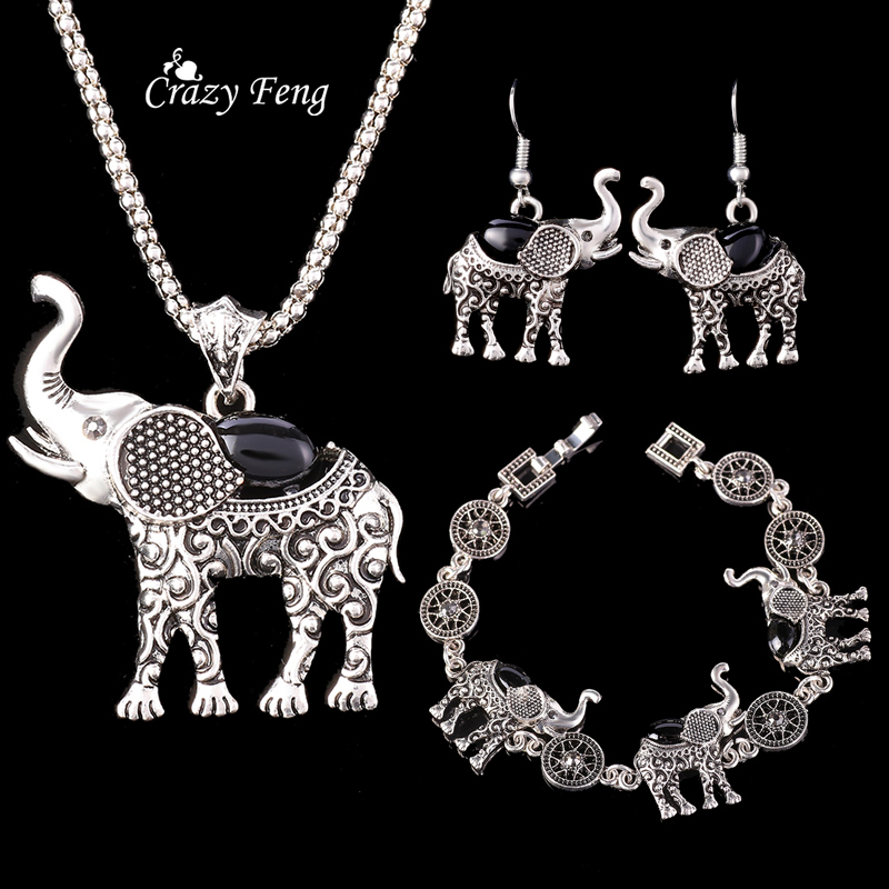 HTB13XQtQpXXXXXzapXXq6xXFXXXy - Fashion Green African Jewelry Sets for Women Vintage Silver Color Elephant Pendant Necklace Earrings Bracelets Jewellery Gift