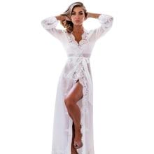 New Nightgowns Maxi Lace Robe Sexy Sleepwear Long Bathrobe W