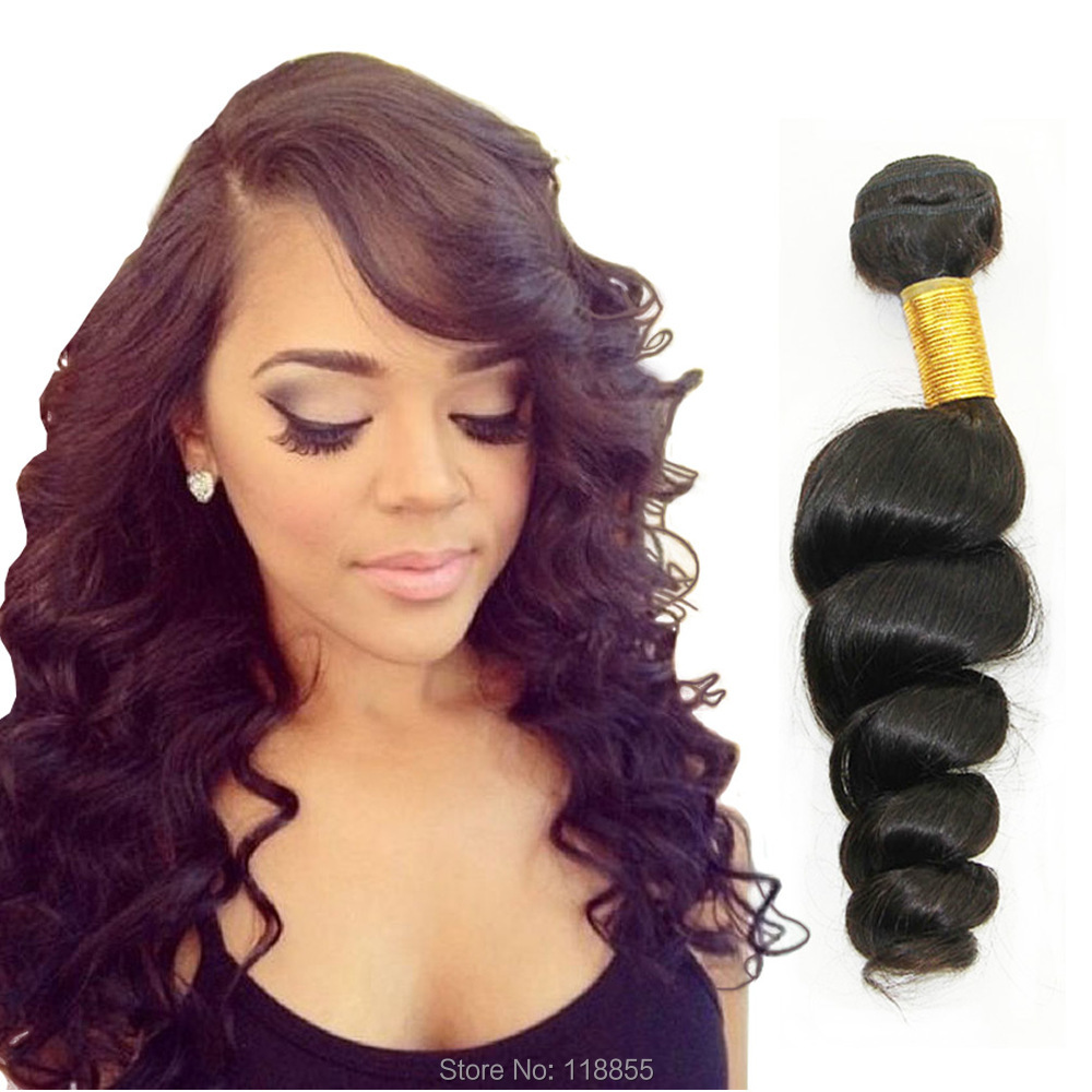 6a Indian Virgin Loose Wave Curly Hair Weave 4pcs 400g 1b