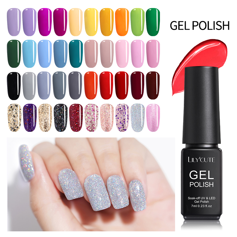 LILYCUTE  7ml Pale Mauve Pink Soak Off UV Gel Polish Purple Series Long Lasting Pure Nail Color Varnish Manicure