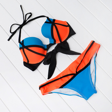 Купить с кэшбэком Cindysmile Biquini Feminino 2018 Women Sexy Push Up Swimwear Low Waist Swimsuit Brazilian Beachwear Orange Striped Bikini Set