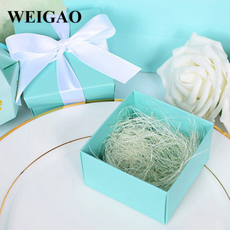WEIGAO 10Pcs DIY Ribbon Candy Box Gift Bag Anniversary Birthday Party Baby Shower Decoration Supplies Wedding Favor Gift Boxes