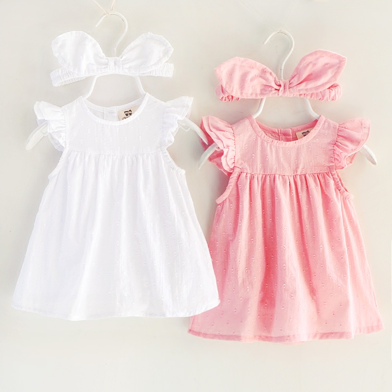 9cbe6d345 new baby girl dress with romper 1 year birthday headband pink party ...
