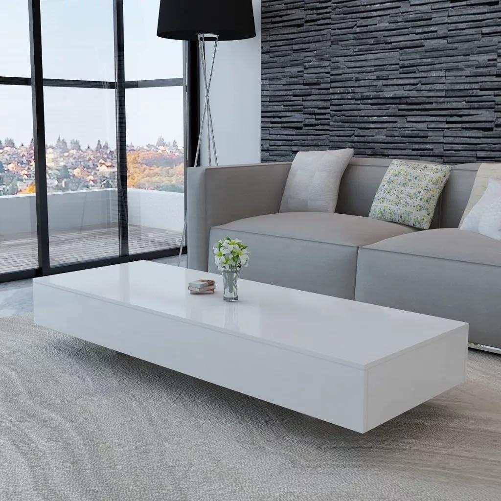 Nouveau Design salon Table basse haute brillance blanc MDF meubles de maison Style moderne salon meubles Table à thé