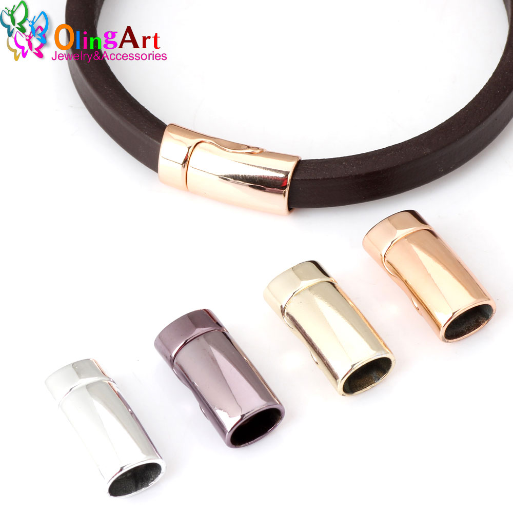 OlingArt 26*13mm 2pcs/lot Magnetic Clasp Plated KC gold/Rose gold/rhodium/purple Jewelry making DIY 10*6MM leather cord bracelet(China)