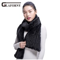 Glaforny 2018 Modern Mink Fur Shawl Good Gift Real Fur Scarf Genuine Mink Scarf Hand Knitted Mink Scarf Winter Fur Scarf Women