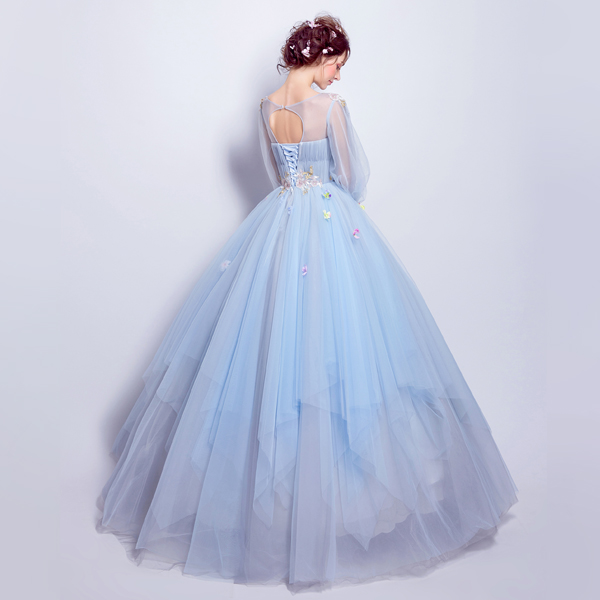 100% Real Photo Sky Blue Vestido De Formatura Imported Party Dress Plus Size Long Three Quarter Sleeve Keyhole Back Prom Dresses-in Prom Dresses from Weddings & Events    2