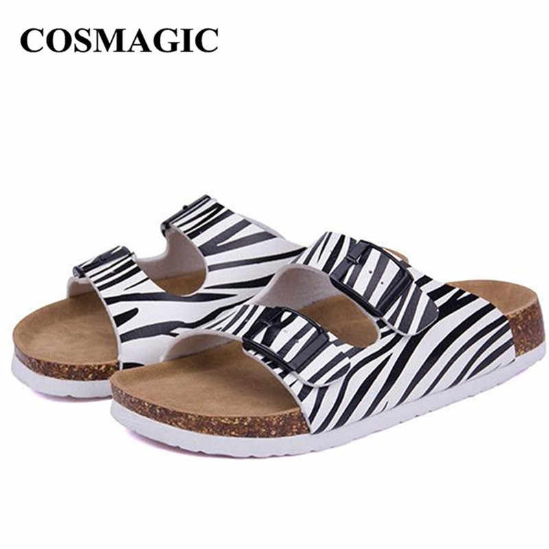 COSMAGIC Fashion Summer Cork Slippers 2018 New Women Casual Beach Double Buckle Printed Slip on Slides Shoe Flat With Plus Size