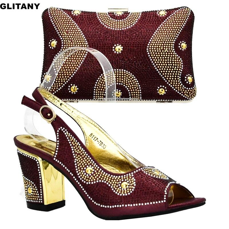 Design Afrikanische Sets Frauen Wine Neueste Nigerian Hochzeit Italienische Set silber Tasche Und gold purpurrot Schuh Party blue Schuhe rot RxWnqx1IfB