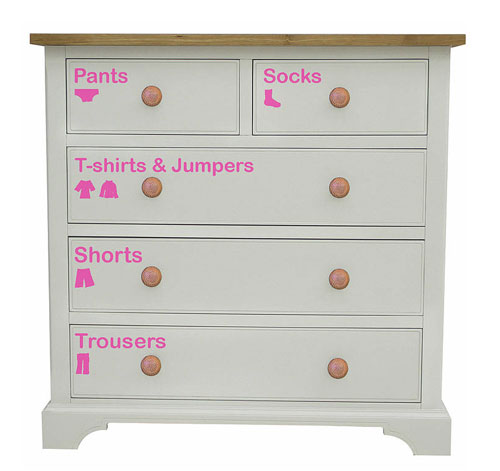 Removable Wardrobe Stickers Children Dresser Clothing Vinyl Decorative Labels Decals
