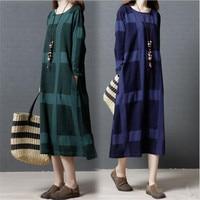 Women Cotton Linen Dress Patchwork Long Sleeve 2017 Spring Autumn Women loose Casual plaid Vintage Dress red blue green
