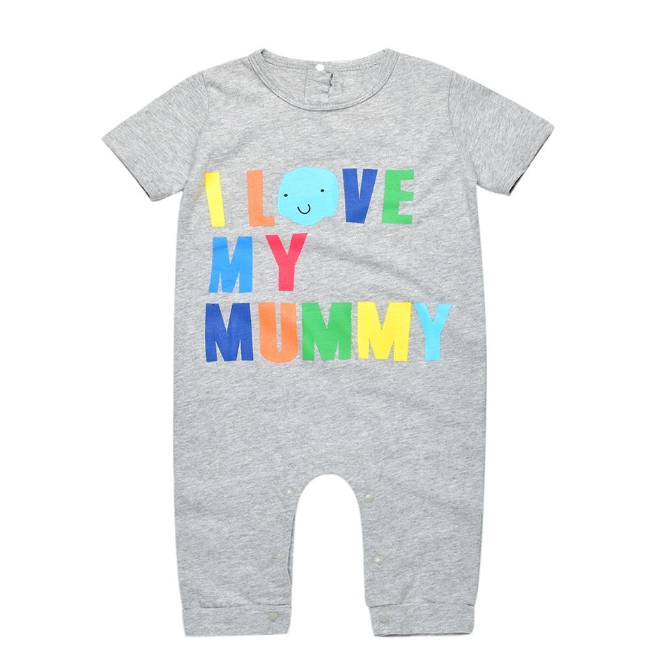 Noworodka Lato Pajacyki 2016 Kocham Moją Tato Mumia Druku Romper Dla - Odzież dla niemowląt - Zdjęcie 3