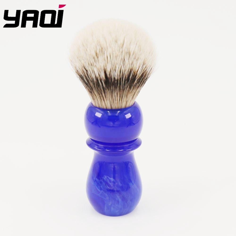 Yaqi 24mm Arctic Sky Deep Blue Handle Silvertip Badger Hair Shaving Brush Brush Barber