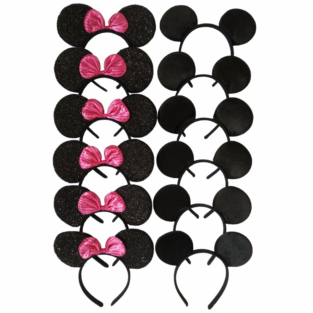 12pcs Hair Accessories   Headwear   Minnie/Mickey Ears Solid Black & Rose Red Bow Headbands for Boy Girl Birthday Party Celebration