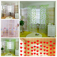 Flower Heart Pattern Vines Leaves Tulle Door Window Curtains Drape Panel Sheer Scarf Valances Wholesale(China)