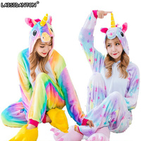 LAISIDANTON Winter Long Sleeves Hooded Unicornio Pijamas For Kids Rainbow Unicorn Pajamas Sets Cosplay Costumes Pyjamas