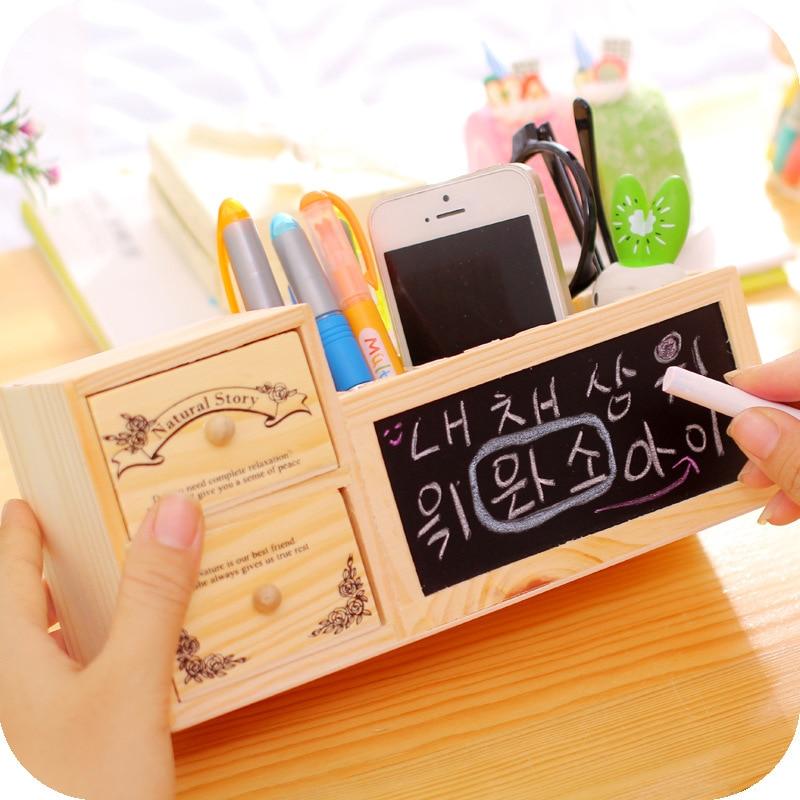 Creative stationary supplies Wooden cute slot pen holder Multifunctional message blackboard storage box Stationery organizer