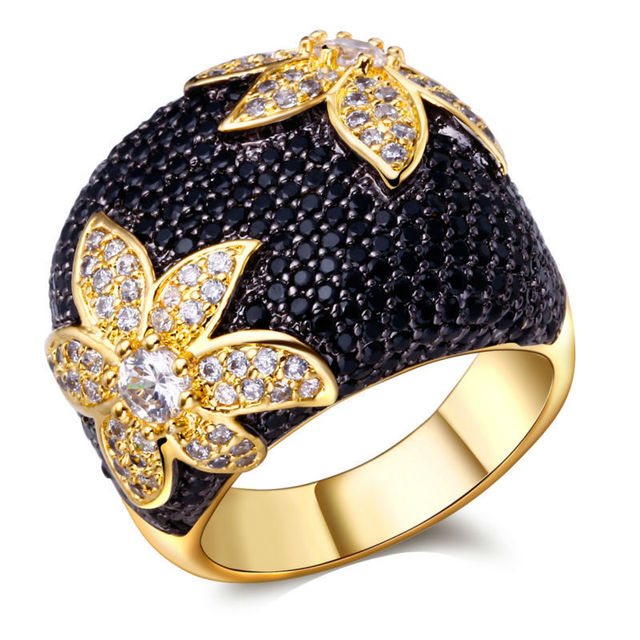 TT Fashion Flower Rings For Women Pave Setting AAA  Black & White Cubic Zirconia Engagement Rings Gold Plated Lead Free