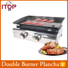 ITOP Gas Plancha BBQ 2 Burners LPG outdoor Grill Steel Enameled cast iron Plate
