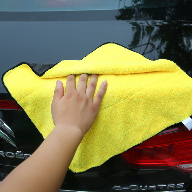 1pc Car Care Polishing Wash Towels Plush Microfiber Washing Drying Towel Strong Thick Plush Polyester Fiber Car Cleaning Cloth 1