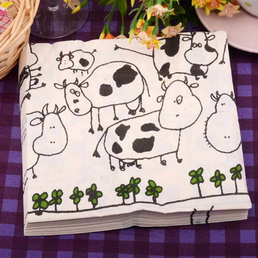 Decoupage paper napkins cartoon animal cow flower sun vintage table tissue black and white printed wedding kids cute party decor