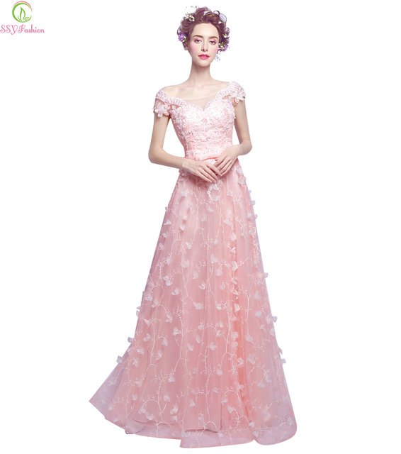 SSYFashion Evening Dress Bride Banquet Sweet Pink Lace Flower Beading Floor- length Party Gown Prom Dresses Robe De Soiree f1328ccb6