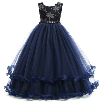 Retail Embroidery Flower Pattern Elegant Teenage Girls Evening Prom Party Dress Ruffled Noble Girls Wedding Long Dress LP-76