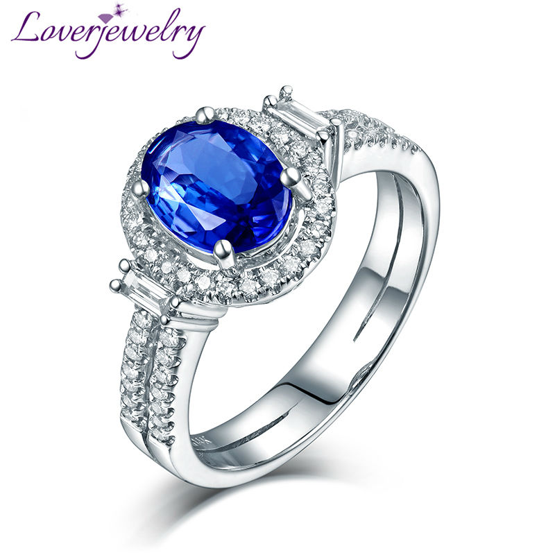 Oval 8x10mm 14Kt White Gold Diamond Blue Tanzanite Ring,Wedding Tanzanite Ring For Sale G090795