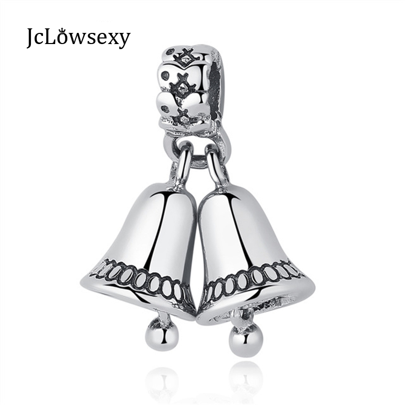 2017 100% Authentic S925 Sterling Silver Christmas Lovely Double Bell Hanging Pendant Bead Fit Pandora Charm Bracelet & Bangle