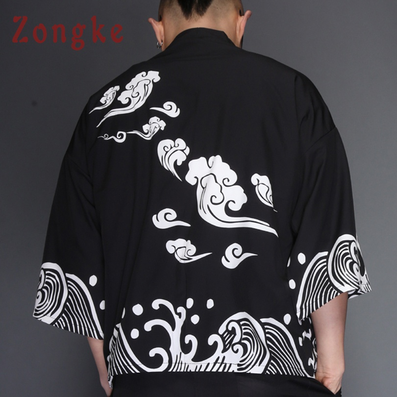 Zongke Japanese Kimono Cardigan Men Wave Print Summer Long Kimono Cardigan Men Black Kimono Cardigan Male Jacket Coat 2018