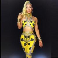 Fashion Summer Yellow Printed Jumpsuit Crystals Women Sleeveless Bodysuit Outfit Dance Stage Show Nightclub Costume Party Wear
