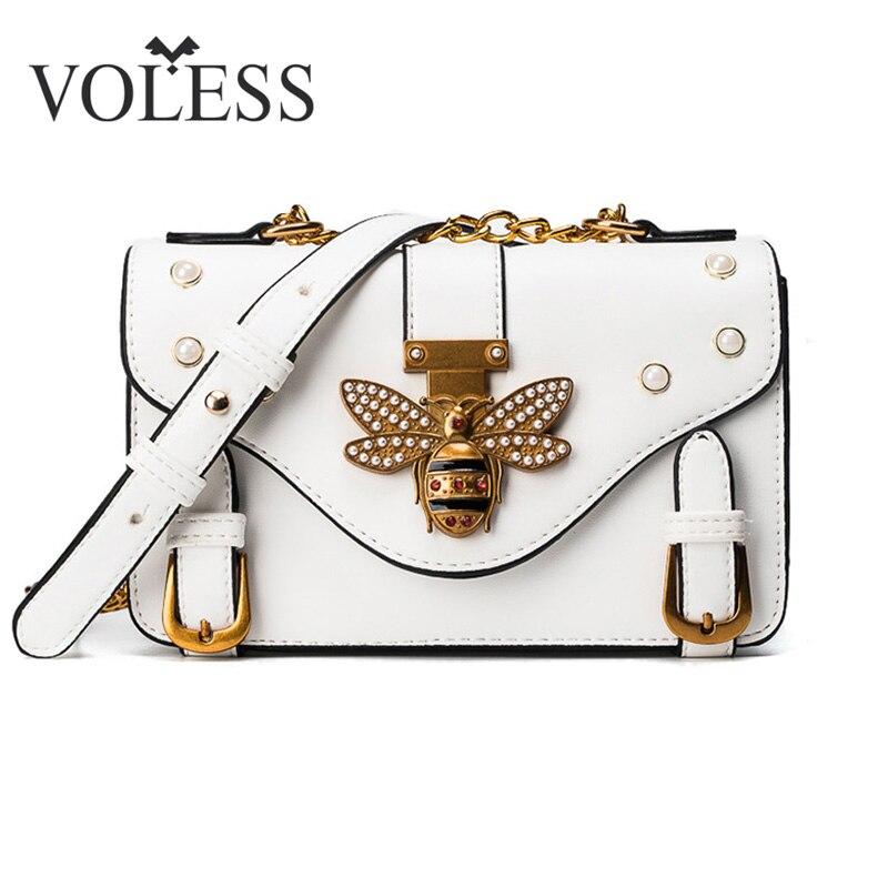 VOLESS Fashion Women Messenger Bag New PU Leather Female Shoulder Bag Luxury Diamond Little Bee Woman Handbags Strap Bags Sac