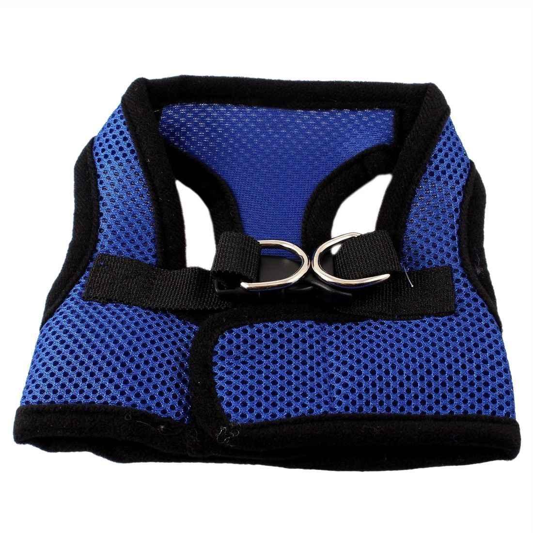 Топ черный и синий пряжки Сетки Модный дизайн для собаки шлейка кошек жилет M