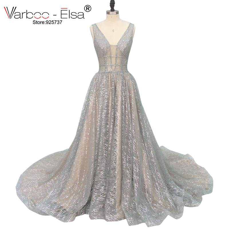 VARBOO_ELSA 2018 Silver Sparkly Long Evening Dress Sexy Double Deep V-Neck Prom Dress Elegant Long Train Backless Robe De Soiree